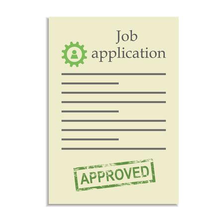 approved stamp: Solicitud de empleo con el sello de aprobado. Conseguir trabajo aa