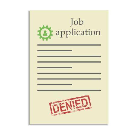 denied: Solicitud de empleo con el sello negado. Rechazo en conseguir un puesto de trabajo Vectores
