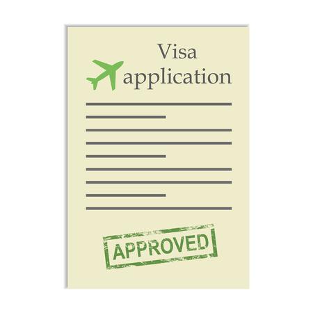 approved stamp: Solicitud de visado con el sello de aprobado. Obtener la aprobaci�n para ir ir de viaje en el extranjero