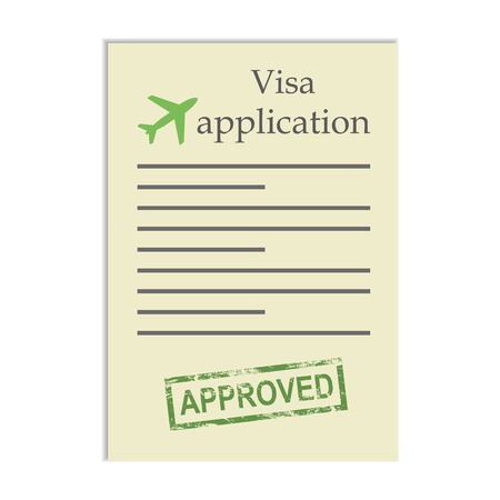 approved stamp: Visa application with approved stamp. Getting approval to go go travel abroad