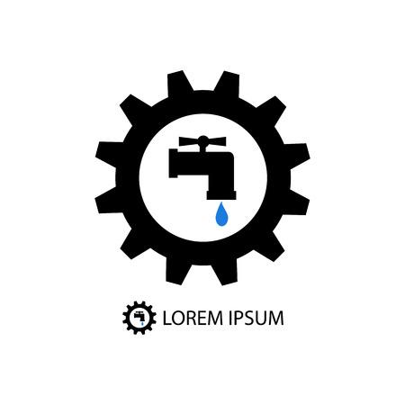 tooling: Black gearwheel with tap sign as plumbing work logo
