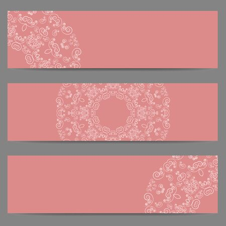 lacework: Set of three pink banners decorated with ornate lacy pattern