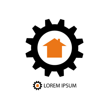Black gearwheel with orange house as construction company logo Vector