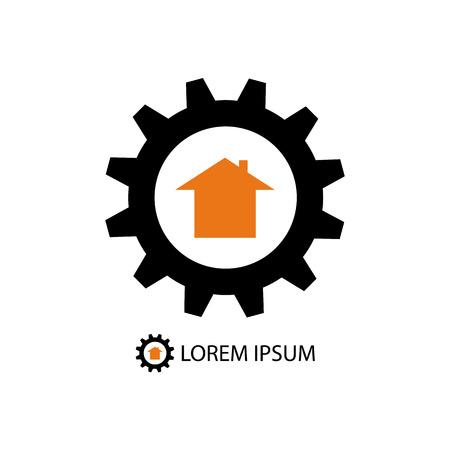 Black gearwheel with orange house as construction company logo