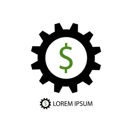 tooling: Black gearwheel with dollar sign as business logo