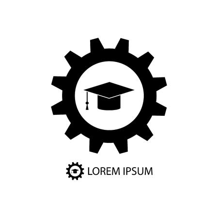 tooling: Black graduation hat in gear wheel as education logo