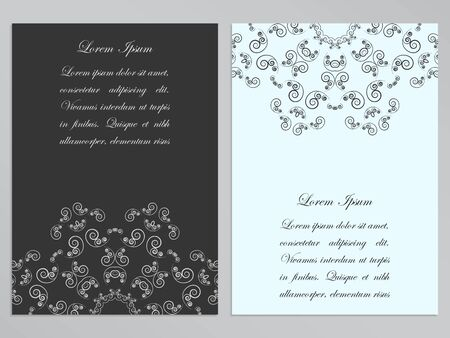 lacework: Black and white flyers design with ornate floral pattern