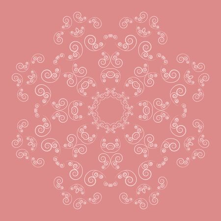 curl: Ornate floral pattern on pink background. Lacy flower with curl elements Illustration