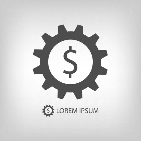 tooling: Grey gearwheel with dollar sign as business logo