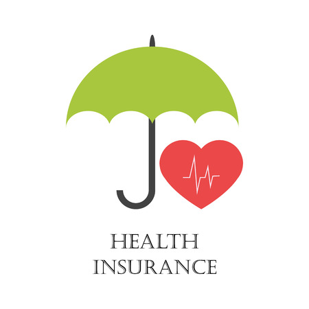 Health insurance sign with green umbrella protecting heart as symbol of health