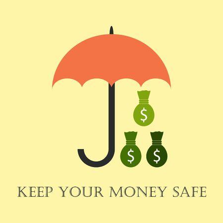 metafoor: Geld beveiligd met paraplu. Metafoor van het houden van geld veilig