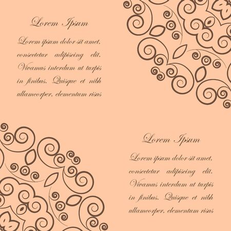 Beige background with brown ornate lacy vintage style pattern Vector
