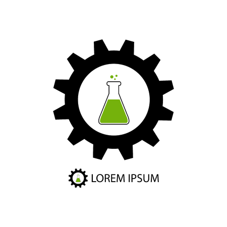 Chemical industry logo with black gearwheel and flask with green substance Vectores