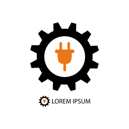 fix gear: Energy industry logo with black gearwheel and orange plug on white background