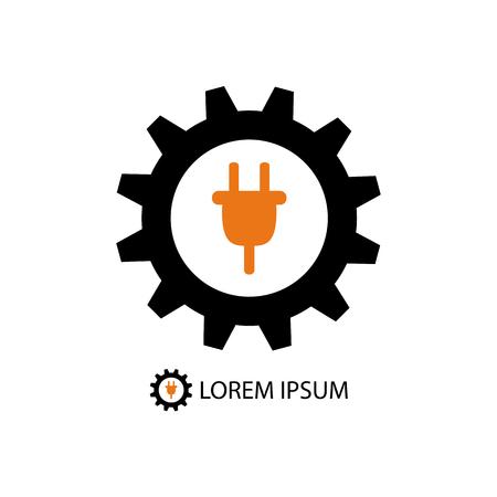 plug electric: Energy industry logo with black gearwheel and orange plug on white background