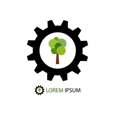 Black gear wheel with green tree as logo of timber industry Vector