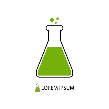 substance: Flask with green substance as chemistry logo on white background Illustration