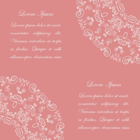 Pink background with white ornate vintage style pattern Vector