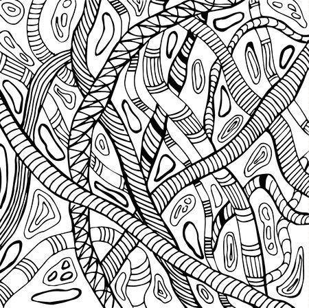 worm snake: Abstract illustration with snakes pattern in black and white