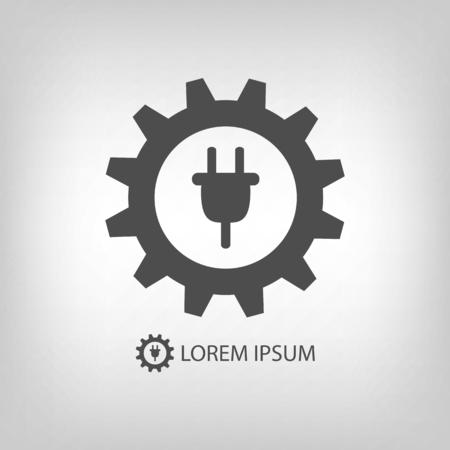 energy industry: Energy industry icon with grey gearwheel and plug