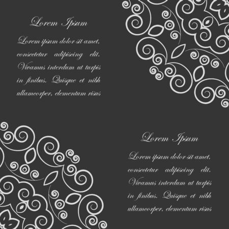 Black background with white ornate lacy vintage style pattern Vector