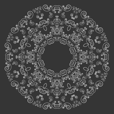lacework: Round white ornate pattern on black background. Vintage style ornament
