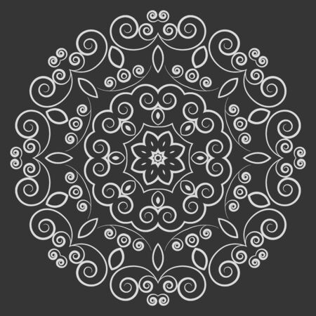Round white ornate pattern with curved elements on black background. Vintage style ornament Vector
