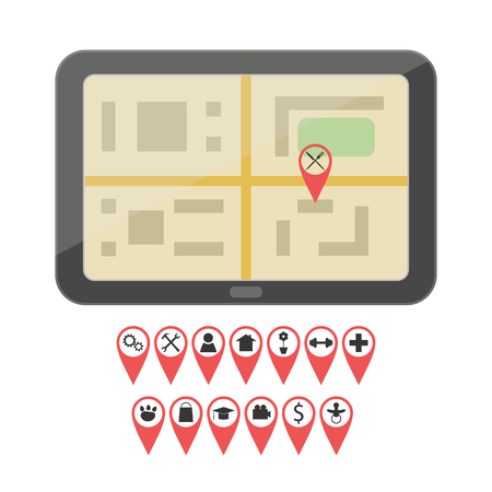 gps device: Flat style GPS device with set of geo pin icons Illustration