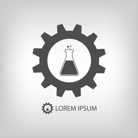 gearwheel: Chemical industry  with grey gearwheel and flask with substance Illustration