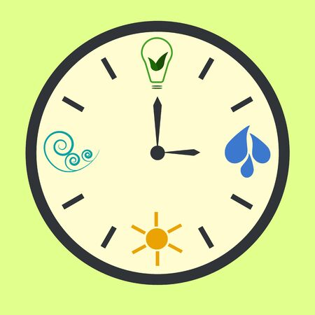 hydro electric: It is time to use natural energy. Concept eco clock with signs of sun, water and wind energy