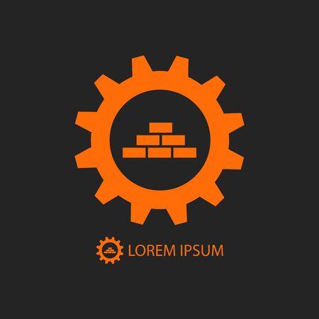 construction logo: Orange gear wheel and bricks as construction logo Illustration