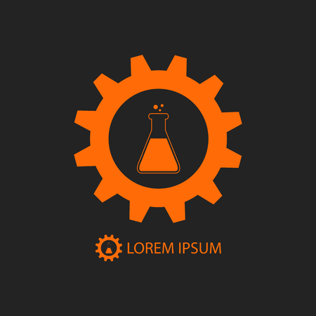 balck: Chemical industry logo with orange gearwheel and flask on balck background