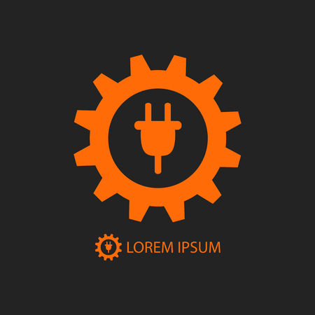 power tools: Energy industry logo with orange gearwheel and plug on black background