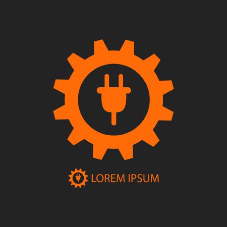 Energy industry logo with orange gearwheel and plug on black background