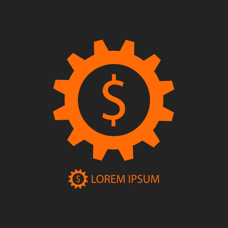 tooling: Orange gearwheel with dollar sign as business logo on black background Illustration