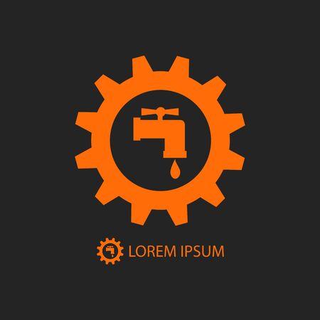 ca�er�as: Rueda dentada de naranja con el signo del grifo como el logotipo trabajo de plomer�a en el fondo negro