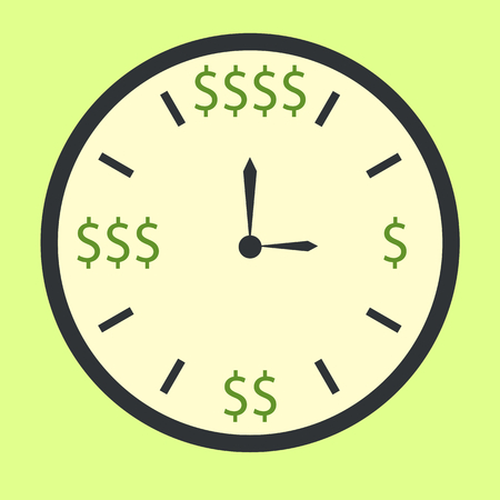 sings: Clock with dollar sings as time is money concept