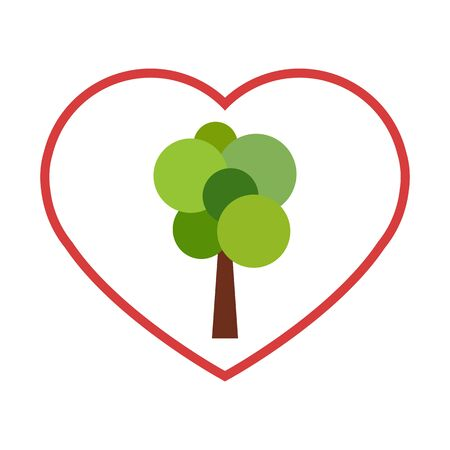 envoronment: Abstract green tree in red outlined heart. Nature love and care concept