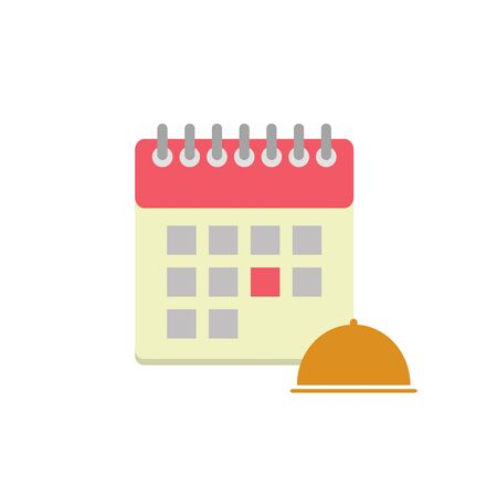 dinner date: Flat style calendar icon with cloche. Business meals