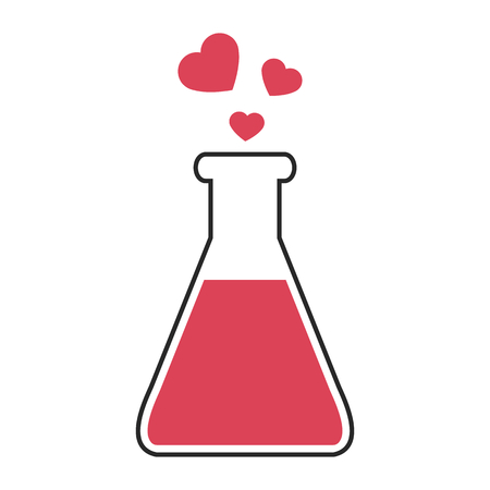 rec: Flask with love elixir. Rec hearts flying from the bottle