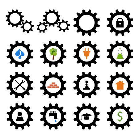 Set of gear wheel logos. Industrial icons Vector