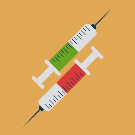 oppos: Deux seringues avec un liquide vert et rouge dirig� � l'oppos�. M�decine, soins de sant� ou de drogues