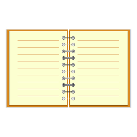 Open spiral lined notebook with orange cover isolated on white background Vector