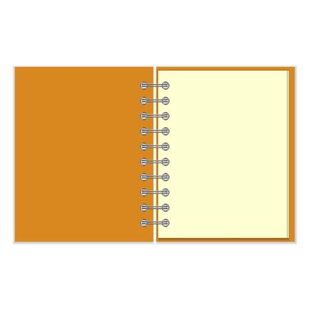 pocket book: Open empty ring-bound notebook with orange cover isolated on white background Illustration