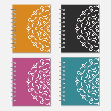 Set of four colorful notebook covers with flower design. Orange, black, purple and blue wrappers with ornate pattern Illustration