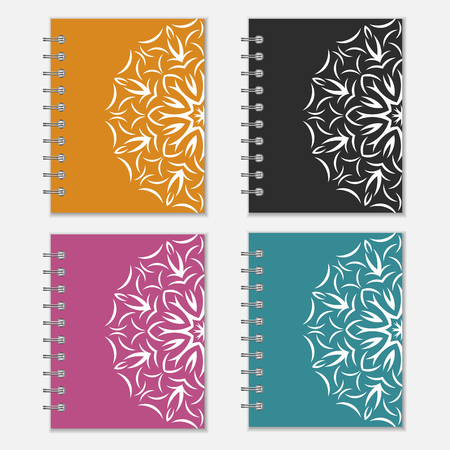 Set of four colorful notebook wrappers with flower design. Orange, black, purple and blue covers with ornate pattern Vector
