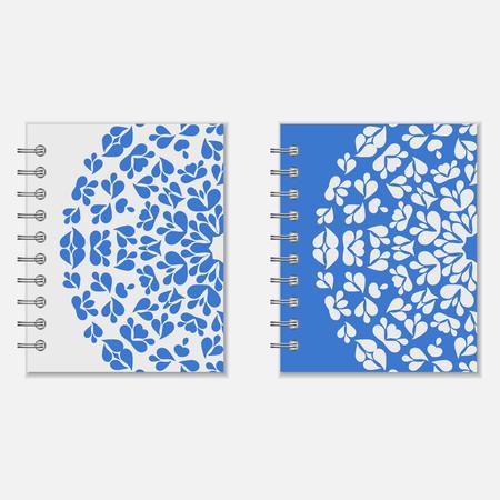 cuaderno espiral: Dise�o de la cubierta del cuaderno espiral. Dos variantes del modelo redondo floral azul y blanco