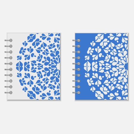 pocket book: Spiral notebook cover design. Two variants of blue and white floral round pattern Illustration