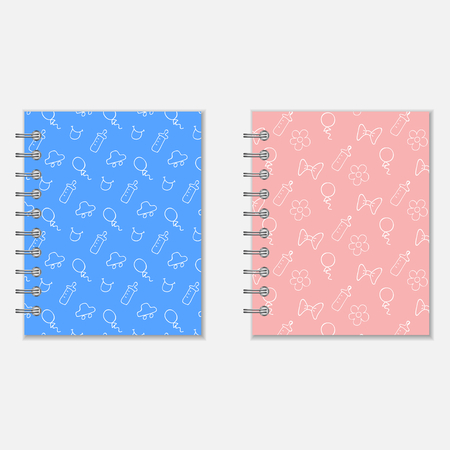 pocket book: Spiral notebook cover design. Baby boy and baby girl style wrapers. Mothers diary