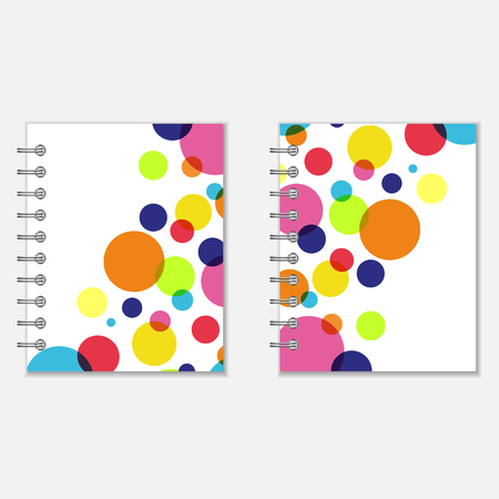 Bright notebook covers design with rainbow circles Stock Illustratie